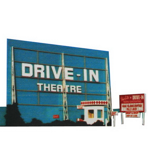 Blair Line 168 HO Drive-In Theatre Laser-Cut Building Kit From the first one in 1933 to the few that remain, nothing says Americana quite like the drive-in theatre. Pick one up today and rekindle some long forgotten memories and recreate a nearly bygone era. Drive-in kit features: Screen, signs and fences are prepainted plastic, ready for quick, fun, and easy assembly. Screen tower frame and ticket booth is laser cut wood. Includes 3 different marquee signs and 17 interchangeable movie signs featuring 32 popular movies from the 1940's to the 1990's. Custom signs available too! Cleverly designed to fit against your backdrop or wall to save space. May also be built as a stand alone model.Condition: Factory New (C-9All original; unused; factory rubs and evidence of handling, shipping and factory test run.Standards for all toy train related accessory items apply to the visual appearance of the item and do not consider the operating functionality of the equipment.Condition and Grading Standards are subjective, at best, and are intended to act as a guide. )Operational Status: FunctionalThis item is brand new from the factory.Original Box: Yes (P-9May have store stamps and price tags. Has inner liners.)Manufacturer: Blair LineModel Number: 168MSRP: $26.95Scale/Era: HO ModernModel Type: BuildingsAvailability: Ships within 3 Business Days!The Trainz SKU for this item is P11466599. Track: 11466599 - 4036-F (Suite 2730-100)  - 001 - TrainzAuctionGroup00UNK - TDIDUNK