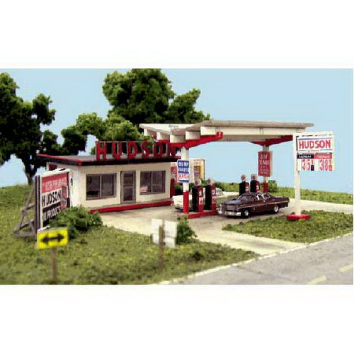 Blair Line 2002 HO Hudson Oil Station Kit Kit includes laser-cut wood office structure with rest rooms, canopy, pump island with 4 gas pumps, large roadside Hudson Oil sign, great selection of realistic and authentic signs and changeable gas price signs so you may customize the gas prices for the era you model.Condition: Factory New (C-9All original; unused; factory rubs and evidence of handling, shipping and factory test run.Standards for all toy train related accessory items apply to the visual appearance of the item and do not consider the operating functionality of the equipment.Condition and Grading Standards are subjective, at best, and are intended to act as a guide. )Operational Status: FunctionalThis item is brand new from the factory.Original Box: Yes (P-9May have store stamps and price tags. Has inner liners.)Manufacturer: Blair LineModel Number: 2002MSRP: $39.95Scale/Era: HO ModernModel Type: AccessoriesAvailability: Ships in 2 Business Days!The Trainz SKU for this item is P11562929. Track: 11562929 - S03 (Shelf)  - 001 - TrainzAuctionGroup00UNK - TDIDUNK