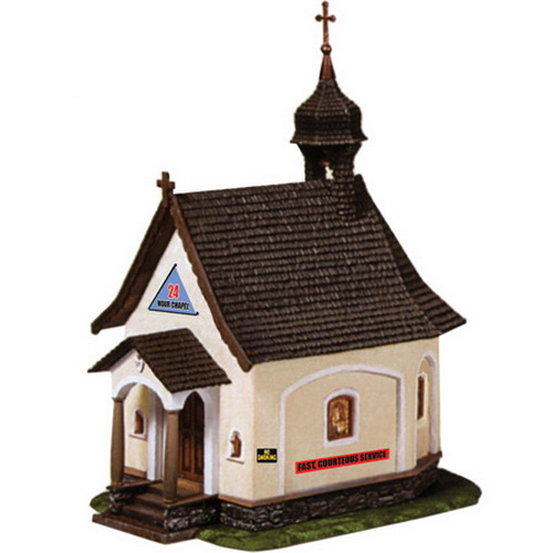 Model Power 776 HO Scale Built-up 24 Hour Chapel This is the HO Scale 24 Hour Chapel Built-Up from Model Power. Suitable for Ages 14 & Older. Features: The 24 Hour Chapel is completely built-up in multi-colored plastic parts, and fully decorated, Handpainted working figures molded in action poses, Lighted, Realistically molded details. Includes: One 24 Hour Chapel with two figures. Requires: Wiring to layout. Scale: HO 1/87.Condition: Factory New (C-9All original; unused; factory rubs and evidence of handling, shipping and factory test run.Standards for all toy train related accessory items apply to the visual appearance of the item and do not consider the operating functionality of the equipment.Condition and Grading Standards are subjective, at best, and are intended to act as a guide. )Operational Status: FunctionalThis item is brand new from the factory.Original Box: Yes (P-9May have store stamps and price tags. Has inner liners.)Manufacturer: Model PowerModel Number: 776MSRP: $34.98Scale/Era: HO ModernModel Type: BuildingsAvailability: Ships in 1 Business Day!The Trainz SKU for this item is P11507897. Track: 11507897 - No Location Assigned - 001 - TrainzAuctionGroup00UNK - TDIDUNK