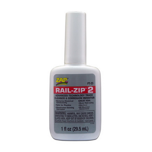 Pacer Glue PT23 Rail Zip 1 oz. Track Cleaner & Corrosion Inhibitor High-tech concentrated track cleaner and corrosion inhibitor. Penetrates existing corrosion layers and restores electrical conductivity to all model railroad tracks. It eliminates arching and sparking to assure total layout integrity. The uses for Rail Zip 2 extend beyond model railroading, anywhere you have electrical contacts and corrosion problems you can use Rail Zip 2. Auto and motorcycle electrical connections, plugs and fuses can remain trouble free making sure your new, classic or antique electrical systems won't cause problems. Outdoor lighting fixtures will be more reliable requiring less maintenance. Available in a 1 oz bottle.Condition: Factory NewOperational Status: FunctionalThis item is brand new from the factory.Original Box: YesManufacturer: Pacer GlueModel Number: PT23MSRP: $5.99Category 1: Maintenance & SuppliesCategory 2: Adhesives and GluesAvailability: Ships within 3 Business Days!The Trainz SKU for this item is P11555207. Track: 11555207 - 4000-C (Suite 2730-100)  - 001 - TrainzAuctionGroup00UNK - TDIDUNK