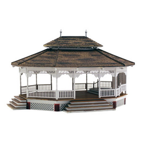 Woodland Scenics BR5035 HO Scale Built-Up Grand Gazebo Building The Grand Gazebo Built & Ready structure commands a panoramic view as the centerpiece of any layout's city or village park. It is the perfect gathering place for the spring weddings, summer family reunions, Sunday afternoon jazz sessions or a cool and shady getaway for summer picnics. The Grand Gazebo design includes an interior open raceway to accommodate wiring and lighting.Condition: Factory New (C-9All original; unused; factory rubs and evidence of handling, shipping and factory test run.Standards for all toy train related accessory items apply to the visual appearance of the item and do not consider the operating functionality of the equipment.Condition and Grading Standards are subjective, at best, and are intended to act as a guide. )Operational Status: FunctionalThis item is brand new from the factory.Original Box: Yes (P-9May have store stamps and price tags. Has inner liners.)Manufacturer: Woodland ScenicsModel Number: BR5035MSRP: $69.99Scale/Era: HO ModernModel Type: BuildingsAvailability: Ships in 1 Business Day!The Trainz SKU for this item is P11564622. Track: 11564622 - No Location Assigned - 001 - TrainzAuctionGroup00UNK - TDIDUNK