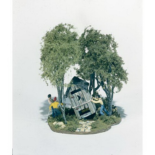 Woodland Scenics M108 HO Scale Mini-Scene Outhouse Mischief Three big ole boys are tipping the outhouse, stirring up trouble. Includes the three boys, the outhouse, wire, rock pavers, four trees, foliage, the base and assorted pieces.Condition: Factory New (C-9All original; unused; factory rubs and evidence of handling, shipping and factory test run.Standards for all toy train related accessory items apply to the visual appearance of the item and do not consider the operating functionality of the equipment.Condition and Grading Standards are subjective, at best, and are intended to act as a guide. )Operational Status: FunctionalThis item is brand new from the factory.Original Box: Yes (P-9May have store stamps and price tags. Has inner liners.)Manufacturer: Woodland ScenicsModel Number: M108MSRP: $23.99Scale/Era: HO ModernModel Type: AccessoriesAvailability: Ships in 3 to 5 Business Days.The Trainz SKU for this item is P11542353. Track: 11542353 - FS - 001 - TrainzAuctionGroup00UNK - TDIDUNK