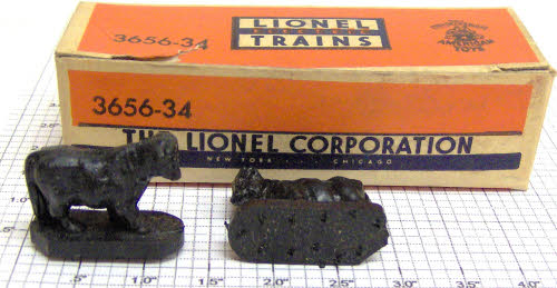 Lionel 3656-34 Set of 9 Black Cattle in Separate Sale Box Condition: Part (N/ATrainz does not provide grading for parts.Standards for all toy train related accessory items apply to the visual appearance of the item and do not consider the operating functionality of the equipment.Condition and Grading Standards are subjective, at best, and are intended to act as a guide. )Operational Status: FunctionalThis part is in workable condition.Original Box: NoManufacturer: LionelModel Number: 3656-34Variation: OriginalCategory 1: PartsCategory 2: O ScaleAvailability: Ships in 3 Business Days!We are unable to provide parts lookup service or fitment assistance.The Trainz SKU for this item is P11616225. Track: 11616225 - Parts (4S6) - 001 - TrainzAuctionGroup00UNK - TDIDUNK