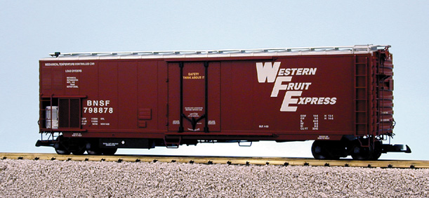 USA Trains 16718 G Burlington Northern Santa Fe 50' Mechanical Refrige This is a USA Trains 16718 G Burlington Northern Santa Fe 50' Mechanical Refrigerator Car Red Oxide. Features include a sliding grated door, opening plug door, full underbody detail, fuel tanks with gauges and metal wheels.Condition: Factory New (C-9All original; unused; factory rubs and evidence of handling, shipping and factory test run.Standards for all toy train related accessory items apply to the visual appearance of the item and do not consider the operating functionality of the equipment.Condition and Grading Standards are subjective, at best, and are intended to act as a guide. )Operational Status: FunctionalThis item is brand new from the factory.Original Box: Yes (P-9May have store stamps and price tags. Has inner liners.)Manufacturer: USA TrainsModel Number: R16718MSRP: $179.95Scale/Era: G ScaleModel Type: Freight CarsAvailability: Ships in 2 Business Days!The Trainz SKU for this item is P11446133. Track: 11446133 - 221 (Row U)  - 001 - TrainzAuctionGroup00UNK - TDIDUNK