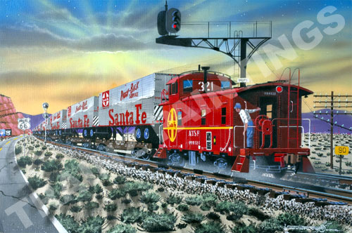 Robert West 352 Santa Fe 'Red Signals & Dust' Railroad Art Print - AP A fast moving Santa Fe Freight train makes a mad dash eastbound into a glorious sunrise! The conductor, ever vigilant and mindful of the fact that this is the company's hottest train, leans out to check the consist of his train! After all, he is in charge of the world's fastest freight train, the Super C! The train is crossing the Arizona - New Mexico state line! Beneath the sandstone red cliffs, a spectacular sunrise illuminates the morning sky! A new day is dawning, both for the world and for the Santa Fe Railroad! In the mid-sixties, along the famous Route 66, this train is revolutionizing North American Railroading by its concept of a hot-shot intermodal, T.O.F.C.,trailer-on-flat-car train! Very few icons of railroading remain today! Gone is the caboose, along with it, jointed rail, telephone poles, trailers on single flat cars, and cantilever signal bridges across the northern tier of Arizona and New Mexico. Why, even Famous Route 66, along with it's smiling fat man billboards, no longer exist except as memories! The Santa Fe Railroad crews affectionately called their cabooses waycars! They were even assigned to their particular conductors, who would oftimes individualize their waycars to fit their own personalities! This class of company-built waycars were known for their smooth-riding and tracking abilities! Made of steel and painted in a striking bright red paint scheme, these cars were quite popular and served as a rolling office on wheels for the conductor and crew members! Appropriately placed at the rear of all cross-country freight trains, these Santa Fe cabooses became quite popular for employees and railroad enthusiasts alike. Many are now retired and part of private collections nationwide! So as the Super-C rolls into the sunrise, the Santa Fe waycar #999321 brings-up-the-markers as it rolls into history and into our hearts as that little red caboose behind the tr