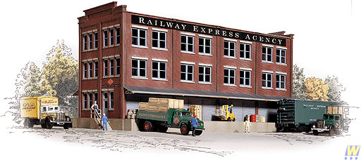 Walthers 933-3095 HO Railway Express Agency Building Kit This is a Walthers 933-3095 HO scale Railway Express Agency (REA) Transfer Building Kit - 13-1/8 x 4-1/2 x 6-3/8 32.8 x 11.2 x 15.9cm First came the big decision of what to buy from the mail-order catalog. Then there was the trip down to the depot to drop your letter into the slot on the side of the Railway Post Office. A few weeks later, you'd get a message that your package had arrived via Railway Express at the depot, or if you lived in a bigger city, it would come right to your door in a big green truck. From tiny hamlets to bustling cities, nothing would brighten your day faster than to receive a package from the Railway Express Agency (REA). High priority packages were moved in baggage cars of most major trains, and REA also operated its own fleets of specialized cars. Handling and processing millions of items each day required extensive facilities. To speed priority shipments, REA built its own transfer buildings alongside the coach yards of most major terminals to permit faster movement of packages between road and rail. Baggage/Express cars from the railroads and REA's own cars were spotted here for loading and unloading. The other side of the building provided loading/unloading docks for the REA fleet of green delivery trucks, as well as those from larger customers without direct rail service and private trucking companies. Adding the excitement of these important facilities to your railroad is easy with this new kit. Designed as a modular building, additional kits (each sold separately) can be combined to build a larger or customized building for your layout. Its brick construction and large windows fit any era from the 1900s to the present, and decals for various eras are included for the finishing touch. It's a perfect destination for the new Railway Express Agency 50' Riveted Side Express Reefers (932-6240 Series individual cars;932-26241 Limited-Run 2-Packs with different numbers) as well as the new Budd 73' Streaml