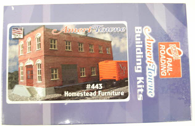 OGR 443 O Ameri-Towne Homestead Furniture Factory This building kit features sharp, true to life detail. It is a complete and easy to build kit, molded in appropriate colors. Its footprint measurements are 6 inches x 12 inches and its height measures between 7 3/4 inches and 9 1/8 inches tall. Made of 1/4 inch thick polystyrene, this building kit is great for customizing!Condition: Factory New (<span class= tooltip  style= text-decoration: underline; color: blue;  title= C-9: All original; unused; factory rubs and evidence of handling, shipping and factory test run.Standards for all toy train related accessory items apply to the visual appearance of the item and do not consider the operating functionality of the equipment.Condition and Grading Standards are subjective, at best, and are intended to act as a guide. >C-9)Operational Status: FunctionalOriginal Box: Yes (P-9)Manufacturer: OGRModel Number: 443MSRP: $47.95Scale/Era: O ModernModel Type: Building KitsAvailability: Ships in 3 to 5 Business Days.The Trainz SKU for this item is P11416074. Track: 11416074 - FS - 001 - TrainzAuctionGroup00UNK - TDIDUNK