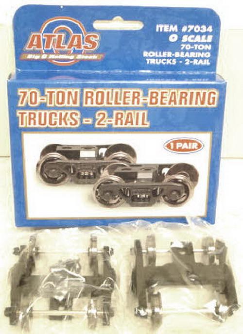 Atlas 7034 O Scale 70-Ton Die-Cast 2-Rail Roller-Bearing Trucks w/Rota
