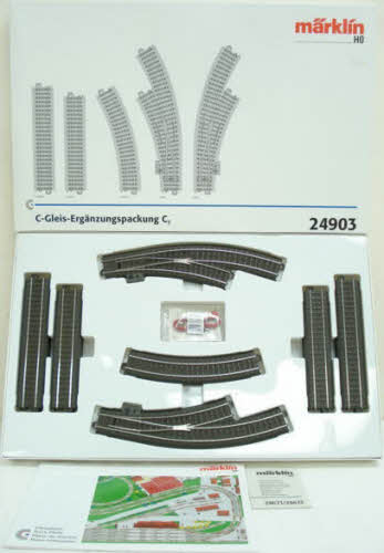 Marklin 24903 Track Extension Set - C Track This is a Marklin, Inc 441-24903 HO Scale 3-Rail C Track C3 Extension Set Add a passing siding with curved turnouts to C Track starter sets. Includes straight and curved track plus turnouts, wire, connectors and instructions.Condition: Factory New (C-9All original; unused; factory rubs and evidence of handling, shipping and factory test run.Standards for all toy train related accessory items apply to the visual appearance of the item and do not consider the operating functionality of the equipment.Condition and Grading Standards are subjective, at best, and are intended to act as a guide. )Operational Status: FunctionalThis item is brand new from the factory.Original Box: Yes (P-9May have store stamps and price tags. Has inner liners.)Manufacturer: MarklinModel Number: 24903MSRP: $99.99Scale/Era: HO ModernModel Type: Track/Switches/Etc.Availability: Ships in 2 Business Days!The Trainz SKU for this item is P11403682. Track: 11403682 - S66 (Shelf)  - 001 - TrainzAuctionGroup00UNK - TDIDUNK