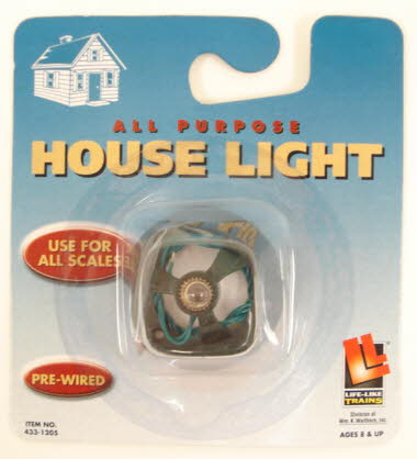 Life Like 1205 All Purpose House Light Working lights will add drama and action to your entire layout, and this economical kit makes it easy to install lighting in almost any building. Its completely assembled, with screw-type bulb, socket with hook-up wires and a plastic mounting base, which can be nailed to your layout surface, or glued inside your buildings. This all-purpose house light is pre-wired for easy operation. Use lamp bulb #433-1203, sold separately, as replacement bulb.Condition: Factory New (C-9All original; unused; factory rubs and evidence of handling, shipping and factory test run.Standards for all toy train related accessory items apply to the visual appearance of the item and do not consider the operating functionality of the equipment.Condition and Grading Standards are subjective, at best, and are intended to act as a guide. )Operational Status: FunctionalThis item is brand new from the factory.Original Box: Yes (P-9May have store stamps and price tags. Has inner liners.)Manufacturer: Life LikeModel Number: 1205MSRP: $7.98Scale/Era: O ModernModel Type: Accessories & BuildingsAvailability: Ships within 3 Business Days!The Trainz SKU for this item is P11391438. Track: 11391438 - 1009-E (Suite 2740-200)  - 001 - TrainzAuctionGroup00UNK - TDIDUNK