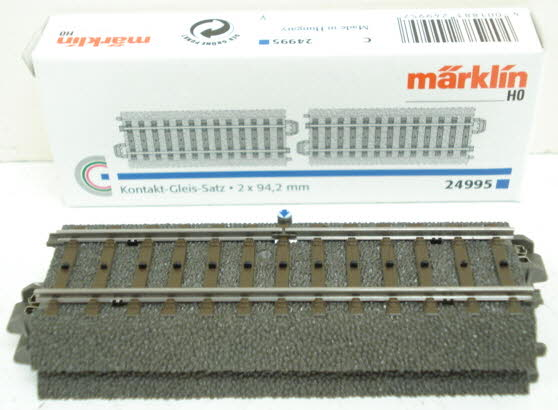 Marklin 24995 Insulated Control C Track Set (2) Marklin C track is world famous for its stability, realism, safety, durability, and quick setup. Just click and you're finished, with no breakable plastic parts on the ends of the tracks! Marklin track uses the technique of using a third rail concealed in the roadbed with only small studs protruding through the ties of the track to provide simplified wiring. The two outer rails are connected electrically. Please note that Marklin track is not compatible with Atlas, Bachmann, or other 2-rail HO scale track.Condition: Factory New (C-9All original; unused; factory rubs and evidence of handling, shipping and factory test run.Standards for all toy train related accessory items apply to the visual appearance of the item and do not consider the operating functionality of the equipment.Condition and Grading Standards are subjective, at best, and are intended to act as a guide. )Operational Status: FunctionalThis item is brand new from the factory.Original Box: Yes (P-9May have store stamps and price tags. Has inner liners.)Manufacturer: MarklinModel Number: 24995MSRP: $22.99Scale/Era: HO ModernModel Type: Track/Switches/Etc.Availability: Ships in 2 Business Days!The Trainz SKU for this item is P11403691. Track: 11403691 - S66 (Shelf)  - 001 - TrainzAuctionGroup00UNK - TDIDUNK
