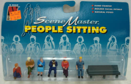 Life Like 1636 O People Sitting w/ Bench Set of 6