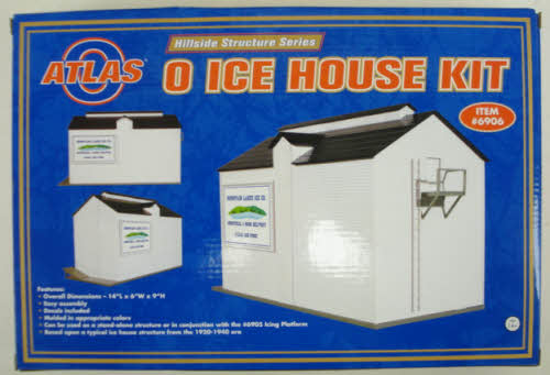 Atlas 6906 O Ice House Kit Atlas O now offers the perfect companion structure for its widly successful billboard reefer series. This ice house building kit and the companion adjoining icing platform - the Atlas Model 6905. BR>Before mechanical refrigeration, ice was the primary method of cooling perishables. Loading blocks of ice into the rooftop hatches of solid reefer trains would be a daunting task were it not for the construction of icing platforms that brought the ice up to car height for speedier icing and re-icing of the trains. Icing platforms on the major refrigerator routes were often quite extensive - some measured 50 car lengths. The ice house was usually attached to the platforms to provide an ice supply that could be accessed quickly. Designed for modular construction - any length can be created by combining additional platform kits, Raised platform that will accomodate two 40' reefer cars, Lower level platform for side door loading, End ladder, Overall dimensions: 37L x 4W x 6HCondition: Factory New (C-9All original; unused; factory rubs and evidence of handling, shipping and factory test run.Standards for all toy train related accessory items apply to the visual appearance of the item and do not consider the operating functionality of the equipment.Condition and Grading Standards are subjective, at best, and are intended to act as a guide. )Operational Status: FunctionalThis item is brand new from the factory.Original Box: Yes (P-9May have store stamps and price tags. Has inner liners.)Manufacturer: AtlasModel Number: 6906MSRP: $65.95Scale/Era: O ModernModel Type: Building KitsAvailability: Ships in 1 Business Day!The Trainz SKU for this item is P11437926. Track: 11437926 - 4015-B (Suite 2730-100)  - 001 - TrainzAuctionGroup00UNK - TDIDUNK
