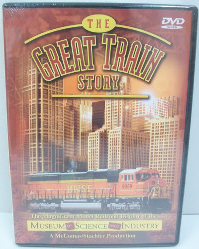 The Great Train Story - Museum of Science & Industry Chicago DVD The Spectacular New Train Exhibit at Chicago's Museum of Science & Industry Since 1941, four generations have been thrilled and delighted by the museum's impressive train exhibit. In 2002, an all-new train exhibit was introduced. Both kids and grown-ups greeted it with great enthusiasm. The display shows the importance of railroads today by focusing on four major functions – intermodal transportation, passenger service, transporting grain, and moving raw materials. Each of these stories is told by taking visitors on a 2200 scale-mile journey between Chicago and Seattle. There's so much to see, you'll have to come back time and again to see it all—or buy this video. (45 minutes.)Condition: Factory NewOperational Status: FunctionalThis item is brand new from the factory.Original Box: YesManufacturer: TM BooksMSRP: $12.95Category 1: Books and MediaCategory 2: Videos & DVDsAvailability: Ships in 3 to 5 Business Days.The Trainz SKU for this item is P11554398. Track: 11554398 - FS - 001 - TrainzAuctionGroup00UNK - TDIDUNK