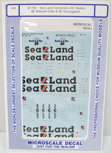 Microscale 87-731 Sea Land Containers Decals If your looking for the best in screen printed decals, we have what you are looking for. Choose from a wide selection of modeling products that can give you that touch of realism in scale model form.Condition: Factory New (C-9All original; unused; factory rubs and evidence of handling, shipping and factory test run.Standards for all toy train related accessory items apply to the visual appearance of the item and do not consider the operating functionality of the equipment.Condition and Grading Standards are subjective, at best, and are intended to act as a guide. )Operational Status: FunctionalThis item is brand new from the factory.Original Box: Yes (P-9May have store stamps and price tags. Has inner liners.)Manufacturer: MicroscaleModel Number: 87-731Road Name: Sea LandMSRP: $8.25Scale/Era: HO ModernModel Type: Freight CarsAvailability: Ships in 3 to 5 Business Days.The Trainz SKU for this item is P11503045. Track: 11503045 - FS - 001 - TrainzAuctionGroup00UNK - TDIDUNK
