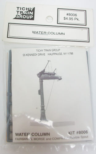 Tichy 8006 HO Scale Water Column Kit THIS IS A STANDARD SHEFFIELD WATER COLUMN. THEY WERE USED FOR FILLING STEAM LOCOMOTIVE TENDERS WITH WATER AND COULD BE FOUND AT MOST STATIONS AND OTHER STOPPING POINTS. IT IS INJECTION MOLDED IN GRAY STYRENE WITH PHOSPHOR BRONZE WIRE. IT INCLUDES A HEIGHTCondition: Factory New (C-9All original; unused; factory rubs and evidence of handling, shipping and factory test run.Standards for all toy train related accessory items apply to the visual appearance of the item and do not consider the operating functionality of the equipment.Condition and Grading Standards are subjective, at best, and are intended to act as a guide. )Operational Status: FunctionalThis item is brand new from the factory.Original Box: Yes (P-9May have store stamps and price tags. Has inner liners.)Manufacturer: TichyModel Number: 8006MSRP: $4.95Scale/Era: HO ModernModel Type: AccessoriesAvailability: Ships within 3 Business Days!The Trainz SKU for this item is P11481694. Track: 11481694 - 1022-C (Suite 2740-200)  - 001 - TrainzAuctionGroup00UNK - TDIDUNK