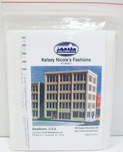 Smalltown USA 6027 HO Kelsey Nicole's Fashions HO Building Kit This kit features easy to assemble pieces and detailed instructions.Condition: Factory New (C-9All original; unused; factory rubs and evidence of handling, shipping and factory test run.Standards for all toy train related accessory items apply to the visual appearance of the item and do not consider the operating functionality of the equipment.Condition and Grading Standards are subjective, at best, and are intended to act as a guide. )Operational Status: FunctionalThis item is brand new from the factory.Original Box: Yes (P-9May have store stamps and price tags. Has inner liners.)Manufacturer: Smalltown USAModel Number: 6027MSRP: $44.95Scale/Era: HO ModernModel Type: BuildingsAvailability: Ships in 3 to 5 Business Days.The Trainz SKU for this item is P11535283. Track: 11535283 - FS - 001 - TrainzAuctionGroup00UNK - TDIDUNK