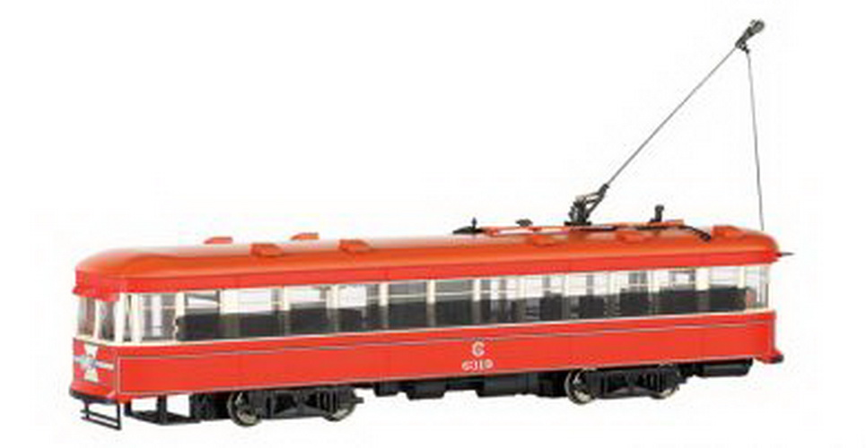 Bachmann 84652 N Spectrum Peter Witt Streetcar w/DCC, Chicago Road Name: Chicago Surface Lines Product Information This distinctive streetcar with its innovative exit-only center door is being offered for the first time in N scale and boasts superfine detailing and realistic LED headlights and backup lights.  Features include:· DCC-equipped for speed, direction, and lighting· dual-mode NMRA-compliant decoder· eight-wheel drive · precision can motor· LED headlights and backup lights· hidden drive train and electronics · photo-etched brass safety screenCondition: Factory New (C-9All original; unused; factory rubs and evidence of handling, shipping and factory test run.Standards for all toy train related accessory items apply to the visual appearance of the item and do not consider the operating functionality of the equipment.Condition and Grading Standards are subjective, at best, and are intended to act as a guide. )Operational Status: FunctionalThis item is brand new from the factory.Original Box: Yes (P-9May have store stamps and price tags. Has inner liners.)Manufacturer: BachmannModel Number: 84652Road Name: ChicagoMSRP: $185.00Scale/Era: N ScaleModel Type: Motorized UnitsAvailability: Ships in 1 Business Day!The Trainz SKU for this item is P11618112. Track: 11618112 - DS (Shelf)  - 001 - TrainzAuctionGroup00UNK - TDIDUNK