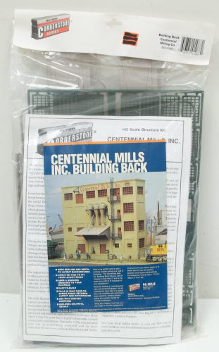 Walthers 933-3160 Building Back Centennial Mills Co. This is Walthers HO Scale Cornerstone Background Building Kit - Centennial Mills. Finally! There's a quick, affordable way to add scenery anywhere space is limited - without the added time and trouble of kitbashing! Background Building Walls let you use that last little bit of space to create a realistic background for any industrial area. These HO Scale kits can be used on the edge of your benchwork, along a shelf or modular layout and in dioramas. Once installed, they provide a smooth, realistic transition between 3-D foreground scenes and printed or painted backgrounds. (Check out Walthers Instant Horizons printed backgrounds for more ideas on creating a backdrop for your layout.) Based on popular Cornerstone Series(R) structures, you can build them stock or easily customize them. Each has scribed cut lines molded on the inside so you can cut new angles or reduce the width to fit your pike. Each building also comes with a variety of add-on details, a partial roof and colorful sign decals. This detailed background building has loads of extras including a covered loading dock, fire escape ladder and wall-mounted dust collectors. 10-3/16 Wide x 1-15/16 Deep x 8-7/16 Tall 25.4 x 4.8 x 21cm.Condition: Factory New (C-9All original; unused; factory rubs and evidence of handling, shipping and factory test run.Standards for all toy train related accessory items apply to the visual appearance of the item and do not consider the operating functionality of the equipment.Condition and Grading Standards are subjective, at best, and are intended to act as a guide. )Operational Status: FunctionalThis item is brand new from the factory.Original Box: Yes (P-9May have store stamps and price tags. Has inner liners.)Manufacturer: WalthersModel Number: 933-3160MSRP: $37.98Scale/Era: HO ModernModel Type: BuildingsAvailability: Ships in 3 to 5 Business Days.The Trainz SKU for this item is P11619903. Track: 11619903 - FS - 001 - Trainz