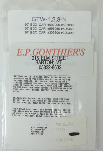 E.P. Gonthier's 11572 GTW 50' Box Car Decals Here is a E.P. Gonthier's 11572 Grand Trunk Western 50' Box Car Decals.Condition: Factory New (C-9All original; unused; factory rubs and evidence of handling, shipping and factory test run.Standards for all toy train related accessory items apply to the visual appearance of the item and do not consider the operating functionality of the equipment.Condition and Grading Standards are subjective, at best, and are intended to act as a guide. )Operational Status: FunctionalThis item is brand new from the factory.Original Box: Yes (P-9May have store stamps and price tags. Has inner liners.)Manufacturer: E.P. Gonthier'sModel Number: 11572MSRP: $3.25Scale/Era: N ScaleModel Type: MiscellaneousAvailability: Ships within 3 Business Days!The Trainz SKU for this item is P11619206. Track: 11619206 - 4002-D (Suite 2730-100)  - 001 - TrainzAuctionGroup00UNK - TDIDUNK