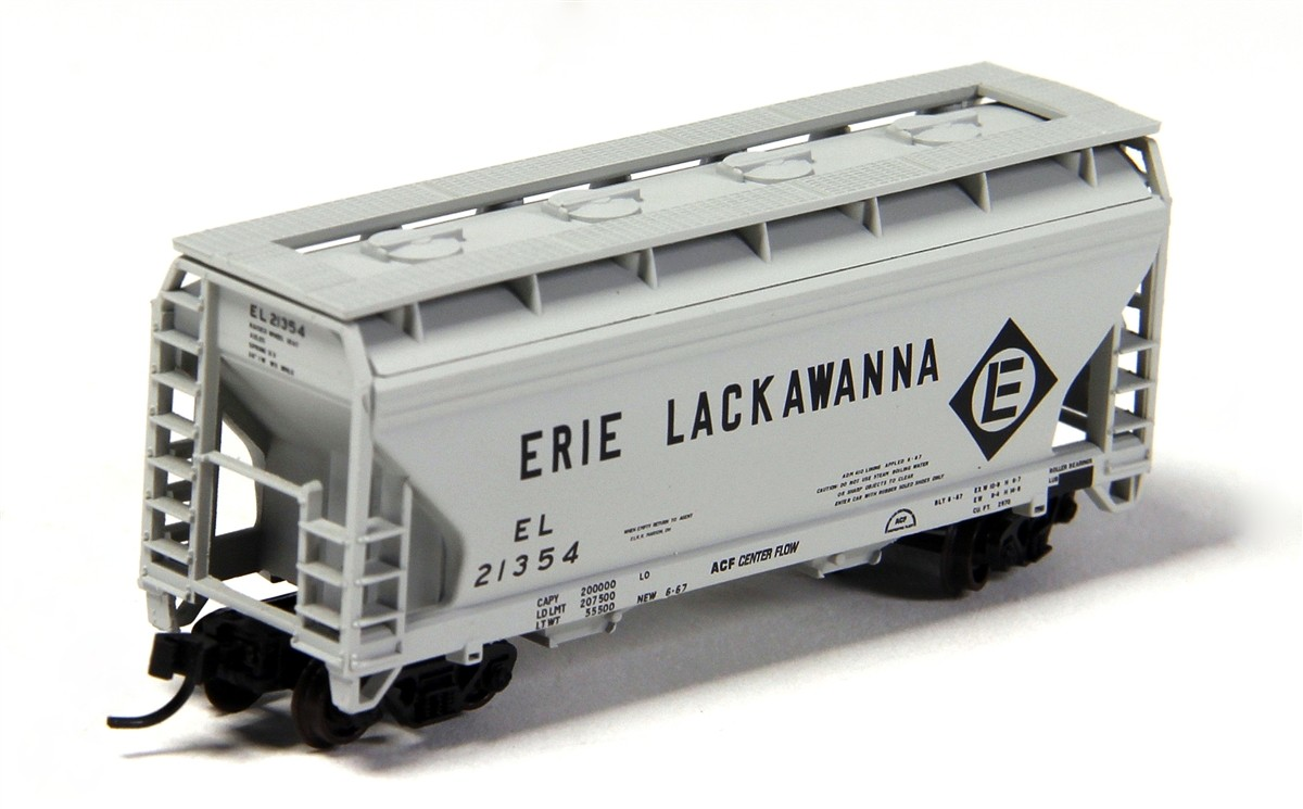 Atlas 50001876 N Erie Lackawanna 2-Bay Centerflow Hopper #21379 Image is a representation. Actual road number is in the product name. A covered hopper is a railroad freight car designed for carrying dry bulk loads, varying from grain to products such as sand and clay. The cover protects the loads from the weather - dry cement would be very hard to unload if mixed with water in transit, while grain would be liable to rot if exposed to rain. However, they are unsuitable for perishables such as fruit or meat - these are transported in refrigerator cars, where they can be kept at low temperatures, as well. Similar to an open hopper car, covered hoppers tend to contain two to four separated bays. Each of these can be loaded and emptied individually, with access at the top to load the materials and visible chutes at the bottom for unloading.AccuMate couplersAccurate painting and printingCondition: Factory New (C-9All original; unused; factory rubs and evidence of handling, shipping and factory test run.Standards for all toy train related accessory items apply to the visual appearance of the item and do not consider the operating functionality of the equipment.Condition and Grading Standards are subjective, at best, and are intended to act as a guide. )Operational Status: FunctionalThis item is brand new from the factory.Original Box: Yes (P-9May have store stamps and price tags. Has inner liners.)Manufacturer: AtlasModel Number: 50001876MSRP: $16.95Scale/Era: N ScaleModel Type: Freight CarsAvailability: Ships in 3 to 5 Business Days.The Trainz SKU for this item is P12070429. Track: 12070429 - FS - 001 - TrainzAuctionGroup00UNK - TDIDUNK