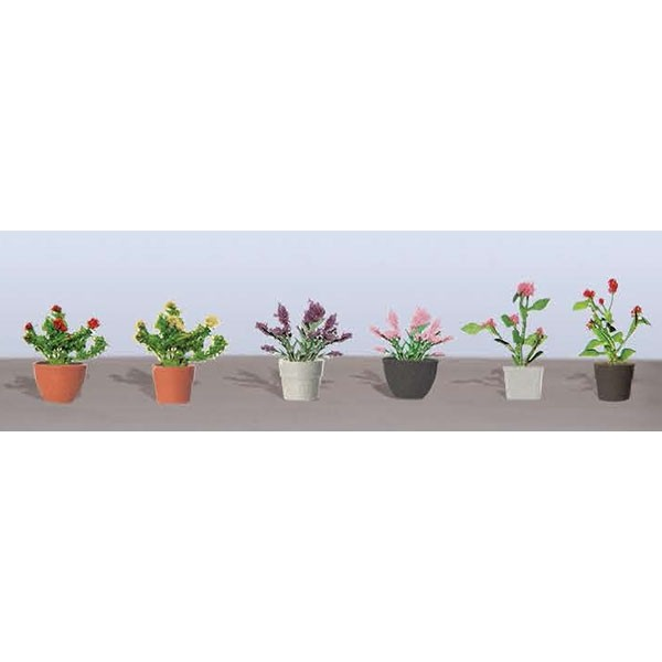 JTT Scenery Products 95566 O Assorted Potted Flower Plants (Pack of 6) JTT's Flowering Plants Series use the unique twisted wire process and handmade detail that makes JTT trees so genuine. The series features bushes, trees and hedges, as well as petunias, tulips, and remarkably realistic corn stalks up to 2  high. Capturing nature's most vibrant colors, contours and textures in HO and O scale, these flowering plants come alive in red, pink, green, yellow, purple and blended colors. assembled & ready to  plant Condition: Factory New (C-9All original; unused; factory rubs and evidence of handling, shipping and factory test run.Standards for all toy train related accessory items apply to the visual appearance of the item and do not consider the operating functionality of the equipment.Condition and Grading Standards are subjective, at best, and are intended to act as a guide. )Operational Status: FunctionalThis item is brand new from the factory.Original Box: Yes (P-9May have store stamps and price tags. Has inner liners.)Manufacturer: JTT Scenery ProductsModel Number: 95566MSRP: $9.75Category 1: Scenery & MaterialsCategory 2: Ground CoverAvailability: Ships in 3 to 5 Business Days.The Trainz SKU for this item is P11982533. Track: 11982533 - FS - 001 - TrainzAuctionGroup00UNK - TDIDUNK
