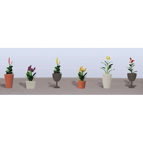 JTT Scenery Products 95572 HO Flower Plants Potted Assortment Set #4 6 JTT's Flowering Plants Series use the unique twisted wire process and handmade detail that makes JTT trees so genuine. The series features bushes, trees and hedges, as well as petunias, tulips, and remarkably realistic corn stalks up to 2  high. Capturing nature's most vibrant colors, contours and textures in HO and O scale, these flowering plants come alive in red, pink, green, yellow, purple and blended colors.Create natural landscaped borders for your layout, a colorful countryside, brilliant backdrops for homes and buildings. JTT's unique flowering plants deliver a convincing reality that are unique to the marketplace.assembled & ready to  plant Condition: Factory New (C-9All original; unused; factory rubs and evidence of handling, shipping and factory test run.Standards for all toy train related accessory items apply to the visual appearance of the item and do not consider the operating functionality of the equipment.Condition and Grading Standards are subjective, at best, and are intended to act as a guide. )Operational Status: FunctionalThis item is brand new from the factory.Original Box: Yes (P-9May have store stamps and price tags. Has inner liners.)Manufacturer: JTT Scenery ProductsModel Number: 95572MSRP: $9.75Category 1: Scenery & MaterialsCategory 2: Ground CoverAvailability: Ships within 3 Business Days!The Trainz SKU for this item is P11982539. Track: 11982539 - 4003-B (Suite 2730-100)  - 001 - TrainzAuctionGroup00UNK - TDIDUNK