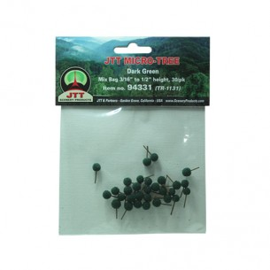 JTT Scenery Products 94331 Micro-Tree Dark Green 3/16  - 1/2  30/pk JTT Micro-Trees are made with superfine foliage. Their coated wire truncks gives them a natural appearance. Ideal for urban scale models.Mix size bag 4.8mm to 12.7mm, 30 in a pack.Mix size bag 4.8mm to 12.7mm, 30 in a pack.Condition: Factory New (C-9All original; unused; factory rubs and evidence of handling, shipping and factory test run.Standards for all toy train related accessory items apply to the visual appearance of the item and do not consider the operating functionality of the equipment.Condition and Grading Standards are subjective, at best, and are intended to act as a guide. )Operational Status: FunctionalThis item is brand new from the factory.Original Box: Yes (P-9May have store stamps and price tags. Has inner liners.)Manufacturer: JTT Scenery ProductsModel Number: 94331MSRP: $9.25Category 1: Scenery & MaterialsCategory 2: Trees & ShrubberyAvailability: Ships in 3 to 5 Business Days.The Trainz SKU for this item is P11983571. Track: 11983571 - FS - 001 - TrainzAuctionGroup00UNK - TDIDUNK