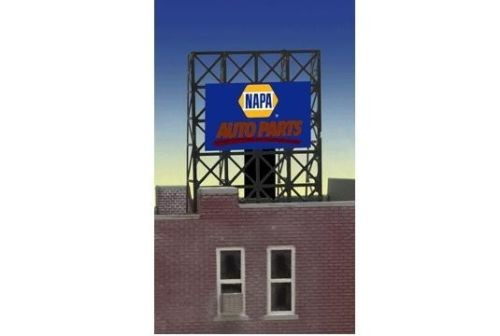 Miller Engineering 338895 N/Z Napa Auto Parts Animated Rooftop Billboa This is a Miller Engineering 338895 N/Z Scales Napa Auto Parts Animated Rooftop Billboard Small Lattice Support Size: 1 x 1-3/8 2.5 x 3.4cm. We have taken our HO/O scale window signs and designed a set of photo etched supports for them so they can be used as roof top billboards for N & Z scales. The Frame Size is 1 W x 1.35 T These roof top billboards have all the great features of all Miller Enigneering billboards. They are fully compatible with our line of AC adapters and converter modules. Limited edition signs! Kit Includes: One EL sign lamp. Photo-etched frame and supports Runs on 3 AAA batteries (Not Included) Complete instructionsCondition: Factory New (C-9All original; unused; factory rubs and evidence of handling, shipping and factory test run.Standards for all toy train related accessory items apply to the visual appearance of the item and do not consider the operating functionality of the equipment.Condition and Grading Standards are subjective, at best, and are intended to act as a guide. )Operational Status: FunctionalThis item is brand new from the factory.Original Box: Yes (P-9May have store stamps and price tags. Has inner liners.)Manufacturer: Miller EngineeringModel Number: 338895Road Name: NapaMSRP: $22.95Scale/Era: N ScaleModel Type: AccessoriesAvailability: Ships in 2 Business Days!The Trainz SKU for this item is P12060086. Track: 12060086 - S01 (Shelf)  - 001 - TrainzAuctionGroup00UNK - TDIDUNK