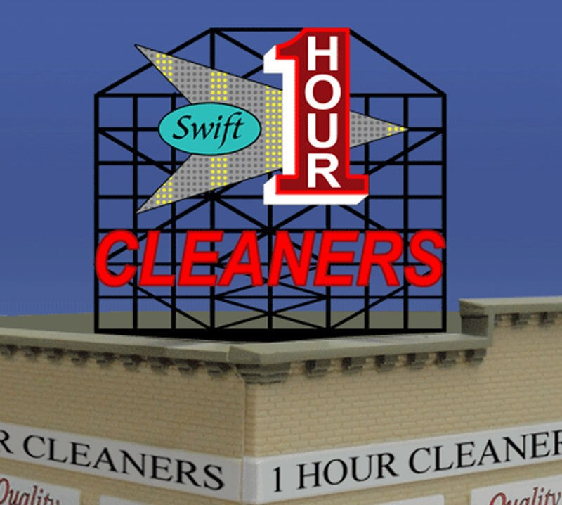 Miller Engineering 881701 O/HO Swift One Hour Cleaners Rooftop Billboa This is a Miller Engineering 881701 HO/O Scales Swift One Hour Cleaners Animated Rooftop Billboard - Light Works USA Large 4-11/16 x 3-1/2 11.9 x 8.9cm. This is the Large Version and comes with sign supports. Limited Edition Sign! Kit Includes: One EL sign lamp. Multi channel sequencing sign. One ready to run power supply. Runs on 3 AAA batteries (Not Included) or optional power supply, sold separately. We have optional power supplies #4802 (Run up to 3 signs) #4803 (Run up to 10 Signs) and the #4804 Converter Module (Run up to 6 Signs). Complete instructions.Condition: Factory New (C-9All original; unused; factory rubs and evidence of handling, shipping and factory test run.Standards for all toy train related accessory items apply to the visual appearance of the item and do not consider the operating functionality of the equipment.Condition and Grading Standards are subjective, at best, and are intended to act as a guide. )Operational Status: FunctionalThis item is brand new from the factory.Original Box: Yes (P-9May have store stamps and price tags. Has inner liners.)Manufacturer: Miller EngineeringModel Number: 881701MSRP: $49.95Scale/Era: HO ModernModel Type: AccessoriesAvailability: Ships in 1 Business Day!The Trainz SKU for this item is P12069056. Track: 12069056 - S01 (Shelf)  - 001 - TrainzAuctionGroup00UNK - TDIDUNK