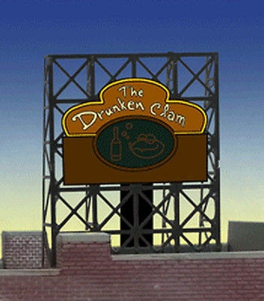 Miller Engineering 338885 N/Z Drunken Clam Animated Rooftop Billboard This is a Miller Engineering 338885 N/Z Scales Drunken Clam Animated Rooftop Billboard Small Lattice Support Size: 1 x 1-3/8 2.5 x 3.4cm. We have taken our HO/O scale window signs and designed a set of photo-etched supports for them so they can be used as rooftop billboards for N & Z scales. These rooftop billboards have all the great features of all Miller Enigneering billboards. They are fully compatible with our line of AC adapters and converter modules. The frame size is 1 W x 1.35 T Features s One EL sign lamp One ready to run power supply Runs on 3 AAA batteries (not included) Complete instructionsCondition: Factory New (C-9All original; unused; factory rubs and evidence of handling, shipping and factory test run.Standards for all toy train related accessory items apply to the visual appearance of the item and do not consider the operating functionality of the equipment.Condition and Grading Standards are subjective, at best, and are intended to act as a guide. )Operational Status: FunctionalThis item is brand new from the factory.Original Box: Yes (P-9May have store stamps and price tags. Has inner liners.)Manufacturer: Miller EngineeringModel Number: 338885MSRP: $22.95Scale/Era: N ScaleModel Type: AccessoriesAvailability: Ships in 2 Business Days!The Trainz SKU for this item is P12060084. Track: 12060084 - S01 (Shelf)  - 001 - TrainzAuctionGroup00UNK - TDIDUNK