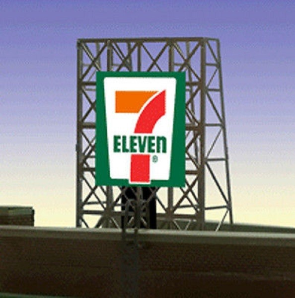 Miller Engineering 338910 N/Z 7 Eleven Animated Rooftop Billboard Smal This is a Miller Engineering 338910 N/Z Scales 7 Eleven Animated Rooftop Billboard Small Lattice Support Size: 1 x 1-3/8 2.5 x 3.4cm. We have taken our HO/O scale window signs and designed a set of photo-etched supports for them so they can be used as rooftop billboards for N & Z scales. These rooftop billboards have all the great features of all Miller Enigneering billboards. They are fully compatible with our line of AC adapters and converter modules.Condition: Factory New (C-9All original; unused; factory rubs and evidence of handling, shipping and factory test run.Standards for all toy train related accessory items apply to the visual appearance of the item and do not consider the operating functionality of the equipment.Condition and Grading Standards are subjective, at best, and are intended to act as a guide. )Operational Status: FunctionalThis item is brand new from the factory.Original Box: Yes (P-9May have store stamps and price tags. Has inner liners.)Manufacturer: Miller EngineeringModel Number: 338910Road Name: 7 ElevenMSRP: $22.95Scale/Era: N ScaleModel Type: AccessoriesAvailability: Ships in 3 to 5 Business Days.The Trainz SKU for this item is P12060087. Track: 12060087 - FS - 001 - TrainzAuctionGroup00UNK - TDIDUNK