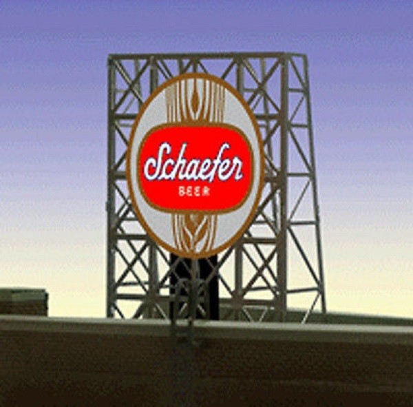 Miller Engineering 338925 N/Z Schaefer Beer Animated Rooftop Billboard This is a Miller Engineering 338925 N/Z Scales Schaefer Beer Animated Rooftop Billboard Small Lattice Support. We have taken our HO/O scale window signs and designed a set of photo-etched supports for them so they can be used as rooftop billboards for N & Z scales. These rooftop billboards have all the great features of all Miller Enigneering billboards. They are fully compatible with our line of AC adapters and converter modules. The frame size is 1 W x 1.35 T Features s One EL sign lamp One ready to run power supply Runs on 3 AAA batteries (not included) Complete instructions.Condition: Factory New (C-9All original; unused; factory rubs and evidence of handling, shipping and factory test run.Standards for all toy train related accessory items apply to the visual appearance of the item and do not consider the operating functionality of the equipment.Condition and Grading Standards are subjective, at best, and are intended to act as a guide. )Operational Status: FunctionalThis item is brand new from the factory.Original Box: Yes (P-9May have store stamps and price tags. Has inner liners.)Manufacturer: Miller EngineeringModel Number: 338925Road Name: SchaeferMSRP: $22.95Scale/Era: N ScaleModel Type: AccessoriesAvailability: Ships in 2 Business Days!The Trainz SKU for this item is P12060089. Track: 12060089 - S01 (Shelf)  - 001 - TrainzAuctionGroup00UNK - TDIDUNK