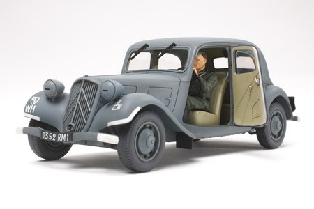 Tamiya 35301 1/35 Citroen Traction 11CV Staff Car The kit has just 54 parts in the usual Tamiya dark grey plastic with a further 8 in clear plastic as well as 4 poly caps for the wheels plus the decal and instruction sheets.This famous French sedan was produced from 1934 to 1957 and featured a lightweight monocoque body with a high performance torsion bar spring suspension. It also had a spacious interior and featured a front-wheel drive system and a low center of gravity. The car proved to be very easy to handle and was used by the French Army, the occupying German Army, and the Free French forces. It was also used by German forces through out the European front and as far away as Russia.Length: 125mm, Width: 48mm.This is a 1/35 scale assembly kit model of the Citroen Traction 11CV.The elegant form of the body and fenders has been accurately reproduced.For easy assembly of the suspension, the number of parts is kept in check.You can choose to assemble either open or closed front doors.By assembling open front doors, you can enjoy viewing the the highly detailed interior.Set includes one driver figure.Markings for the German Army x 2, French Army x 1, and Civilian vehicle x 1 are included.(Total 4)This model will look great in a diorama on its own or with other 1/35 scale modelsCondition: Factory NewOperational Status: FunctionalThis item is brand new from the factory.Original Box: YesManufacturer: TamiyaModel Number: 35301MSRP: $30.00Category 1: Model KitsCategory 2: 1:48 ScaleAvailability: Ships in 1 Business Day!The Trainz SKU for this item is P12000520. Track: 12000520 - S01 (Shelf)  - 001 - TrainzAuctionGroup00UNK - TDIDUNK