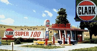 Blair Line 187 HO Scale Clark Oil Gas Station Laser-Cut Building Kit