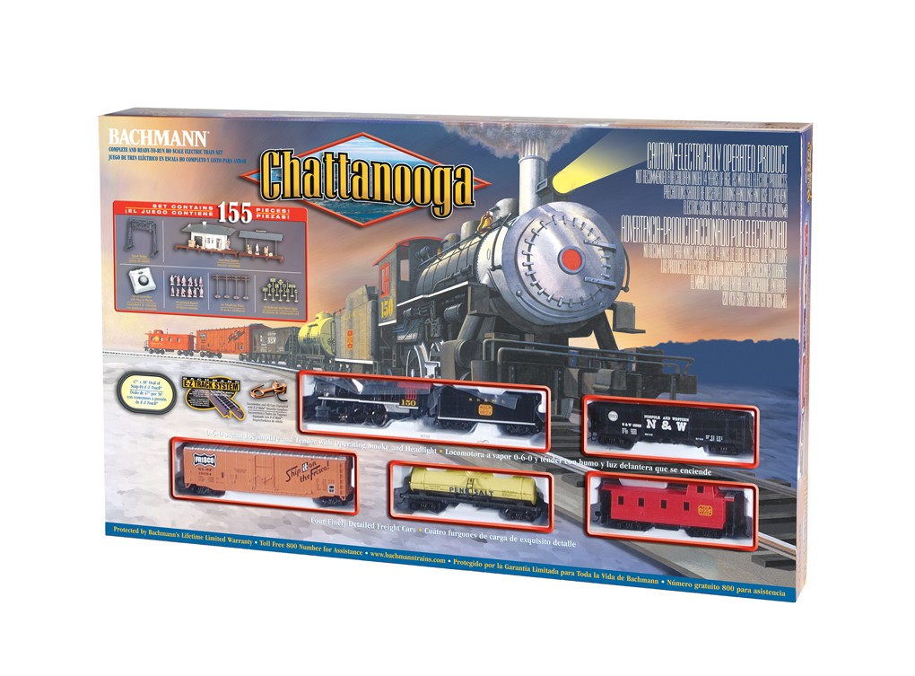 Bachmann 00626 HO Nashville, Chattanooga & St. Louis Train Set Named for the famous Nashville, Chattanooga & St. Louis Railroad, this train set will revive the romance of old-fashioned train travel. This set features an 0-6-0 steam loco and tender with operating headlight and smoke, a plug door box car, an open quad hopper, a single dome tank car and an off-center caboose. Cars run on a 47 x 38 oval of E-Z Track(R), with 12 curved track sections, one piece of straight track and a plug-in terminal rerailler. Extras to help this layout appear in a more realistic setting include a suburban station, a signal bridge, 48 figures, 36 telephone poles, 48 railroad and street signs, a power pack and illustrated instructions. Set contains 155 total pieces.Condition: Factory New (C-9All original; unused; factory rubs and evidence of handling, shipping and factory test run.Standards for all toy train related accessory items apply to the visual appearance of the item and do not consider the operating functionality of the equipment.Condition and Grading Standards are subjective, at best, and are intended to act as a guide. )Operational Status: FunctionalThis item is brand new from the factory.Original Box: Yes (P-9May have store stamps and price tags. Has inner liners.)Manufacturer: BachmannModel Number: 00626Road Name: ChattanoogaMSRP: $255.00Scale/Era: HO ModernModel Type: Starter SetsAvailability: Ships in 2 Business Days!The Trainz SKU for this item is P11555912. Track: 11555912 - No Location Assigned - 001 - TrainzAuctionGroup00UNK - TDIDUNK
