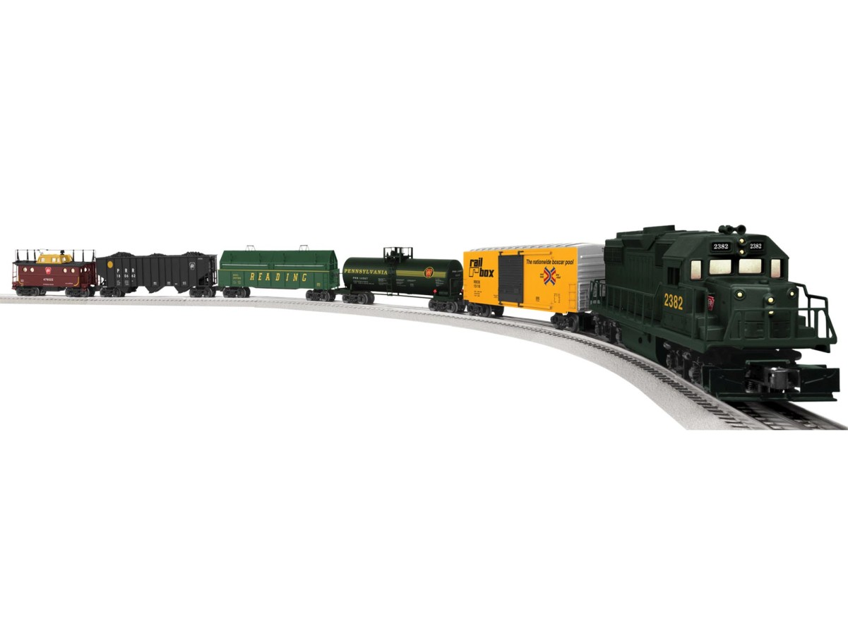 Lionel 6-82436 O Pennsylvania Railroad Keystone Deluxe GP38 Diesel Fre Set Includes:GP38 Diesel LocomotiveUnibody Tank CarGondola with Two Removable CoversHi-Cube Boxcar3-Bay Hopper with Coal Load InsertPorthole Caboose with Roof AntennaEight Curved O36 FasTrack SectionsFive 10  Straight FasTrack SectionsOne 10  FasTrack Wall-Pack Terminal SectionWall-Pack Power SupplyLionChief Remote for LocomotiveLocomotive Features:Electric locomotive controlled by remoteOperating directional headlightsIllumination in cabOn/Off sound switchRailSound RC sound system with diesel revving, background sounds, user activated horn, bell and announcementsMetal frame and handrailsDual power maintenance-free motorsTraction tiresEngineering and fireman figuresOperating coupler at both endsFreight Car Features:Die-Cast metal sprung trucks and operating couplersOperating doors on boxcarMetal platform, ends, and air cylinder on tank carDurable plastic version of 3-bay hopper with removable coal insertTwo removable coal covers on gondolaCaboose features metal frame, interior illumination and roof antennaLionchief Remote Features:Forward and reverse speed control knobThree buttons to activate horn, bell and special announcementsRequires three AAA alkaline batteries (not included)Set Features:Layout Dimensions: 40  x 70 Estimated set length: 67 Minimum curve: O31Condition: Factory New (C-9All original; unused; factory rubs and evidence of handling, shipping and factory test run.Standards for all toy train related accessory items apply to the visual appearance of the item and do not consider the operating functionality of the equipment.Condition and Grading Standards are subjective, at best, and are intended to act as a guide. )Operational Status: FunctionalThis item is brand new from the factory.Original Box: Yes (P-9May have store stamps and price tags. Has inner liners.)Manufacturer: LionelModel Number: 6-82436 Road Name: PennsylvaniaMSRP: $449.99Scale/Era: O ModernModel Type: Starter SetsAvail