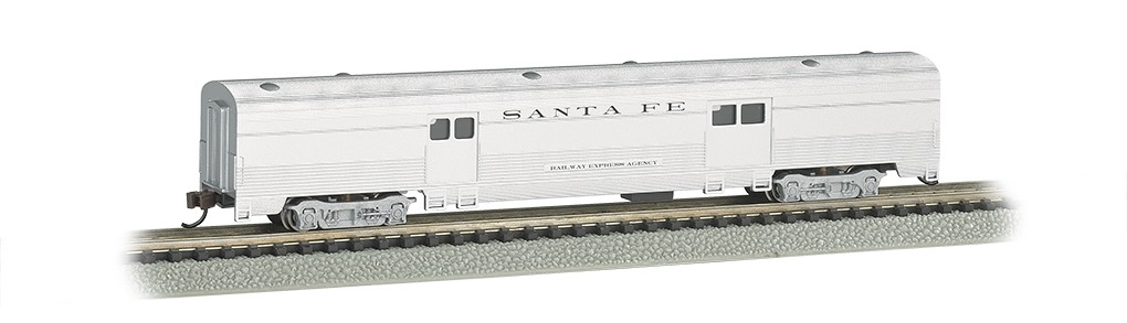 Bachmann 14651 N Santa Fe 85' Fluted-Side Baggage Car This is Bachmann 1465 N Santa Fe 85' Fluted-Side Baggage Car. Features all new tooling. Fluted sides with skirts. Metal wheels, detailed underframe,and body-mounted E-Z Mate® Mark II couplers.Condition: Factory New (C-9All original; unused; factory rubs and evidence of handling, shipping and factory test run.Standards for all toy train related accessory items apply to the visual appearance of the item and do not consider the operating functionality of the equipment.Condition and Grading Standards are subjective, at best, and are intended to act as a guide. )Operational Status: FunctionalThis item is brand new from the factory.Original Box: Yes (P-9May have store stamps and price tags. Has inner liners.)Manufacturer: BachmannModel Number: 14651Road Name: Santa FeMSRP: $49.00Scale/Era: N ScaleModel Type: Passenger CarsAvailability: Ships in 1 Business Day!The Trainz SKU for this item is P12157691. Track: 12157691 - No Location Assigned - 001 - TrainzAuctionGroup00UNK - TDIDUNK