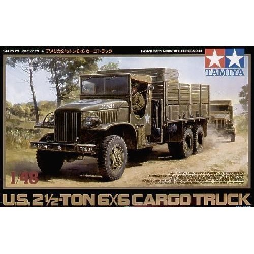 Tamiya 32548 1/48 US 2.5-Ton 6x6 Truck This is a Tamiya 32548 1/48 US 2.5-Ton 6x6 Truck. Nicknamed the deuce and a half, the M35 2.5 ton 6X6 supply truck was one of the unsung heroes of WWII, with over 800,000 produced. Designed to be easy to maintain and repair, the truck served in all theatres supplying the front lines with needed material. One notable supply operation that the truck took part in was the Red Ball Express supply chain that was created after the Allied invasion of Normandy. Its rugged versatility meant that it was extremely configurable and troops in the field often added their own modifications according to their needs, like soldiers in Vietnam who welded armor plates to their trucks.Model Features: High quality 1/48 scale assembly model kit of the American 2.5 ton truck.Die cast chassis features metal screws for easy assembly with truck body.Cabin top features realistic fabric texture and can be removeable to display cabin interior.1 driver figure included.2 types of markings, one from a unit in Normandy and another from the famous Red Ball Express are included.Condition: Factory NewOperational Status: FunctionalThis item is brand new from the factory.Original Box: YesManufacturer: TamiyaModel Number: 32548MSRP: $36.00Category 1: Other ToysCategory 2: Model KitsAvailability: Ships in 1 Business Day!The Trainz SKU for this item is P12000352. Track: 12000352 - No Location Assigned - 001 - TrainzAuctionGroup00UNK - TDIDUNK