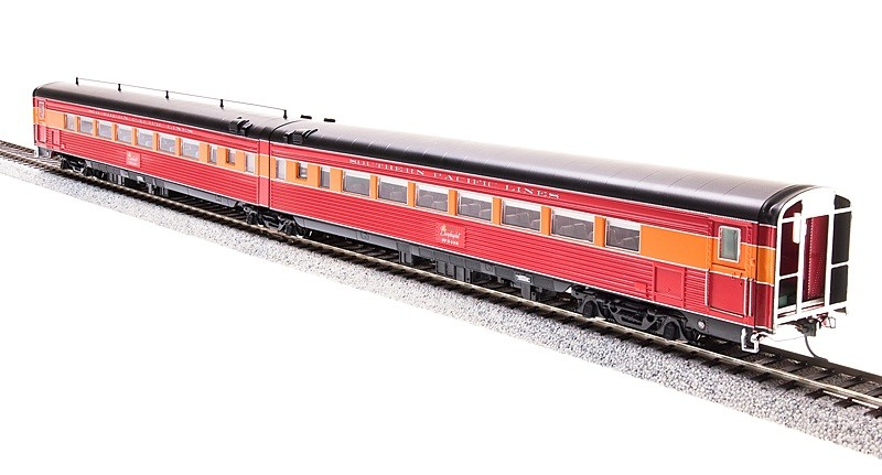 Broadway Limited 689 HO Southern Pacific Passenger Car Articulated Cha This is a Broadway Limited 689 HO Scale Southern Pacific Coast Daylight Articulated Chair W #2460 / Chair M #2459 (2-Car Set) Features:- 1941 Pre-war Version- Skirted Cars- Lettered  Southern Pacific Lines - Beautifully Detailed, Accurate Passenger Cars- Authentic Design, Paint and Color Schemes- Many Separately Applied Details Including Hand Rails- Detailed, Properly colored interiors- Lighted Interiors- Operational Exterior Lighting (where applicable)- Prototypically Accurate Articulated Cars (where applicable)- Antennae (where applicable)- Operating Full-width, Sprung Diaphragms- Prototypically Accurate Match with PCM SP GS-4 Locomotives and PCM Alco PA/PB Locomotives- Observation Car: Lighted Drumhead & Marker Lights- Body Composition: ABS- Chassis Composition: ABS- (2) Kadee-compatible operating metal knuckle couplers. - Compatible Tracks: Code 70, 83, 100 Rail- Recommended Minimum Radius: 22 Condition: Factory New (C-9All original; unused; factory rubs and evidence of handling, shipping and factory test run.Standards for all toy train related accessory items apply to the visual appearance of the item and do not consider the operating functionality of the equipment.Condition and Grading Standards are subjective, at best, and are intended to act as a guide. )Operational Status: FunctionalThis item is brand new from the factory.Original Box: Yes (P-9May have store stamps and price tags. Has inner liners.)Manufacturer: Broadway LimitedModel Number: 689MSRP: $149.99Scale/Era: HO ModernModel Type: Passenger CarsAvailability: Ships within 3 Business Days!The Trainz SKU for this item is P12134381. Track: 12134381 - 4043-C (Suite 2730-100)  - 001 - TrainzAuctionGroup00UNK - TDIDUNK