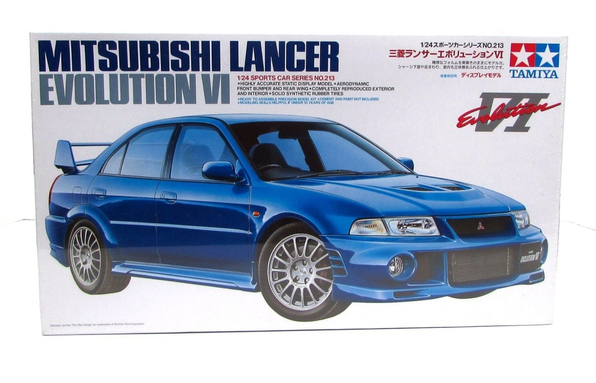 Tamiya 24213 1/24 Mitsubishi Lancer Evolution VI Car The Mitsubishi Lancer Evolution V won the 1998 WRC Manufacturer's Title, and T. Makinen earned the Driver's Title in the same year. The continuing refinement of the car for the 1999 Rally season led to the development of the Evolution VI.The street car version of the Evolution VI was announced in January, 1999 and utilizes the experience derived from rallying. The first modifications centered on the aggressive exterior. On the right side of the bumper, the oil cooler air intake was enlarged and an air outlet on the right side was created to improve efficiency. To improve the radiator airflow, the license plate was offset to the left. The rear spoiler is a delta type twin wicker with an adjustable angle on the upper wing, this increases downforce for extra stability. Reliable, abundant power is provided by the 4G63 2.0 liter 4-cylinder engine with an intercooled turbocharger. Power is transferred through a full-time 4WD transmission to the wheels, the front features a helical limited slip differential, the center is equipped with a viscous LSD, the rear has an Active Yaw Control differential. The front wheels are suspended on Macpherson struts, the rear use multi-links.Additional high performance features were incorporated into the car, resulting in an exceptional vehicle with superior handling. Mitsubishi generously endowed the Lancer Evolution VI with their know-how and experience, creating a rally capable sports car.Condition: Factory NewOperational Status: FunctionalThis item is brand new from the factory.Original Box: YesManufacturer: TamiyaModel Number: 24213MSRP: $34.00Category 1: Model KitsCategory 2: 1:24 ScaleAvailability: Ships in 1 Business Day!The Trainz SKU for this item is P12000233. Track: 12000233 - No Location Assigned - 001 - TrainzAuctionGroup00UNK - TDIDUNK