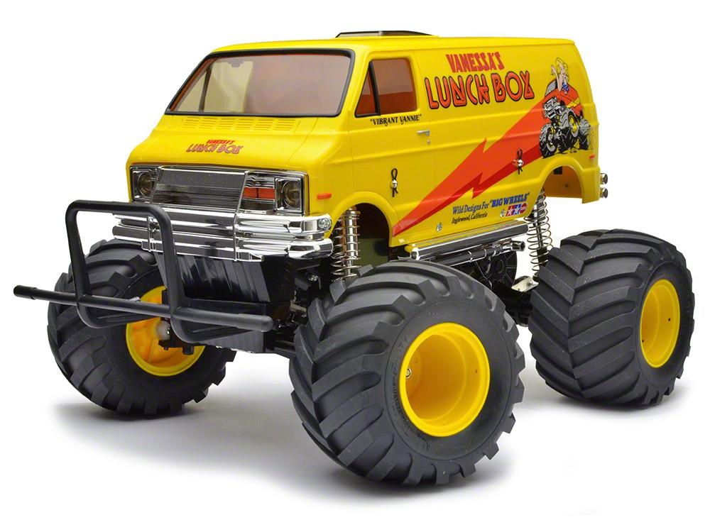 Tamiya 58347 Lunch Box Kit, 2WD Off Rd Another one of Tamiya's classic creations, the R/C Lunch Box (1st released, 1987) was loved for its camp appearance as much as for its R/C performance. The boxy minivan body raised up over monster truck wheels ensure that this R/C van will get attention anywhere you choose to drive it. Use the sides of the van as a canvas to paint your own original designs for the ultimate conversation piece!Condition: Factory NewOperational Status: FunctionalThis item is brand new from the factory.Original Box: YesManufacturer: TamiyaModel Number: 58347MSRP: $184.00Category 1: Other ToysCategory 2: Radio Control ToysAvailability: Ships in 1 Business Day!The Trainz SKU for this item is P12111240. Track: 12111240 - No Location Assigned - 001 - TrainzAuctionGroup00UNK - TDIDUNK