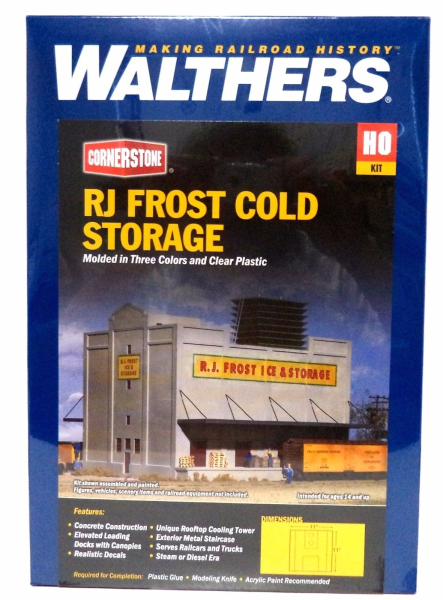 Walthers 933-3020 HO R.J. Frost Ice & Storage Kit This is a kit to build an HO Scale  R.J. Frost Ice and Storage  building. Kit includes a rooftop refrigeration unit, fire escape, separate windows and doors and decal signs.Condition: Factory New (C-9All original; unused; factory rubs and evidence of handling, shipping and factory test run.Standards for all toy train related accessory items apply to the visual appearance of the item and do not consider the operating functionality of the equipment.Condition and Grading Standards are subjective, at best, and are intended to act as a guide. )Operational Status: FunctionalThis item is brand new from the factory.Original Box: Yes (P-9May have store stamps and price tags. Has inner liners.)Manufacturer: WalthersModel Number: 933-3020MSRP: $37.98Scale/Era: HO ModernModel Type: BuildingsAvailability: Ships in 3 to 5 Business Days.The Trainz SKU for this item is P11619982. Track: 11619982 - FS - 001 - TrainzAuctionGroup00UNK - TDIDUNK
