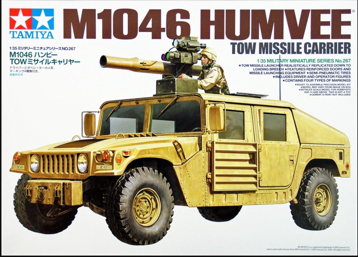 Tamiya 35267 1/35 M1046 Humvee Tow Missile Carrier Tamiya presents a plastic assembly kit for the M1046 Humvee TOW Missile Carrier, a vehicle that in March 2003, was used on the front line in Iraq supporting the 3rd Armored Infantry Division and the 1st Marine Division as they pushed there way to Baghdad. The kit comes fully equipped with extra attachments to accurately replicate the real vehicle.About the M1046 Humvee TOW Missile CarrierThe Humvee was designed for durability, superior off-road handling, and versatility. The first Humvee deployed by the US Military in 1985 featured many different variations including a cargo or troop transport vehicle, armament carrier, and a rescue vehicle. The M1046 featured a self-recovery winch in the front, reinforced doors and a TOW anti-tank missile launcher mounted on the roof. TOW is an easy to operate advanced anti-tank missile launcher that has been deployed in over 40 countries since 1970. M1046 has room for 6 TOW missiles in the back and seating for four personnel. First deployed to the Gulf War and later to conflicts in Bosnia and Kosovo for fire support, the M1046 demonstrated strong firepower and exceptional mobility during 2003 Operation Iraqi Freedom.About the modelOverall length: 137mmAccurate replication of body provides real sense of striking power.TOW missile launcher includes all extra attachments.Features precise detailing of reinforced doors, and missiles, tripod and containers stored in the rear.Extra attachments such as front self-recovery winch, CIP panels and bush guard included in kit.Two types of side mirrors and bonnet grill to choose from.Air intake and muffler for marines division version also included.Comes with one driver and operator figure.Markings for four different vehicles including the 1st Marine Division, 3rd Infantry Division and KFOR units.Condition: Factory NewOperational Status: FunctionalThis item is brand new from the factory.Original Box: YesManufacturer: TamiyaModel Number: 35267MSR