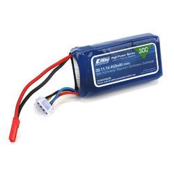 E-Flite B4503SJ30  LiPo Battery 450mAh 3S 11.1V 30C, 18AWG JST This is an E-flite B4503SJ30 450mAh 3S 11.1V 30C LiPo, 18AWG JST. Key Features:Capable of maximum continuous discharge rates up to 30CEquipped with balancing leads and a connector that are compatible with most balancers and balancing chargersEquipped with JST connector on main power leadsPerfect battery for small indoor 3D, aerobatic, sport, or scale airplanes using Park 300 and Park 370 motors on 3S applications.Overview:E-flite High-Power Series Lithium Polymer Batteries offer an excellent blend of weight, power and performance. Available in a wide variety of capacities and voltages, there's a battery perfect for almost any application, from indoor slow flyer to large-scale sport and aerobatic airplane models as well as micro to mid-sized helicopter models. WARNING: Lithium Polymer (Li-Po) batteries come partially charged and are significantly more volatile than the alkaline, Ni-Cd or NiMH batteries used in RC applications. Keep batteries out of reach of children, unless supervised by a responsible adult. All interactions and warnings found on the sheet inside of this cad must be followed exactly. Mishandling of Li-Po batteries can result in a fire. Before handling and first use, visually and physically inspect the battery pack, wire leads, and connectors to ensure there are no loose connections which may cause short circuit and eventual fire. By handling, charging or using this Li-Po battery you assume all risks associated with Li-Po batteries. If you do not agree with these conditions, return this Li-Po battery in new, unused condition to the place of purchase immediately. Product Specifications:Type: Lithium PolymerCapacity: 450mAhVoltage: 11.1VConnector Type: JSTWire Gauge: 18Number of Cells: 3Weight: 1.5 oz (42.5g)Configuration: 3SLength: 2.15 in (54.6mm)Width: 1.15 in (29.2mm)Height: 0.60 in (15.2mm)Maximum Continuous Discharge : 30CMaximum Continuous Current : 13.5ACharge Protection CircuitCo
