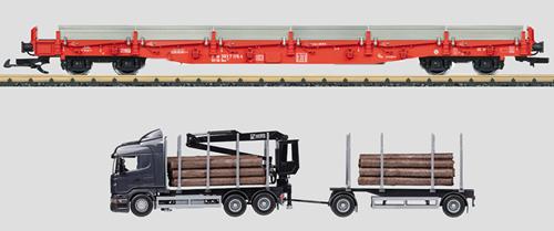 LGB 45921 G Deutsche Bahn AG Stake Car w/Log Truck Load (Era V, Red)