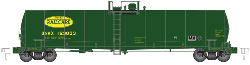 Atlas 50002069 N Dana Railcare ACF 23,500 Gallon Tank Car #123033 This is an Atlas 50002069 N Scale Dana Railcare ACF 23,500 Gallon Tank Car #123033. This features Separately molded brake line plumbing, Ultra-thin handrails, Tank fittings and safety placards, 100-ton roller-bearing trucks, Brake wheel chain detail, Accurate painting and lettering, and Factory-installed AccuMate® magnetic knuckle couplers.Condition: Factory New (C-9All original; unused; factory rubs and evidence of handling, shipping and factory test run.Standards for all toy train related accessory items apply to the visual appearance of the item and do not consider the operating functionality of the equipment.Condition and Grading Standards are subjective, at best, and are intended to act as a guide. )Operational Status: FunctionalThis item is brand new from the factory.Original Box: Yes (P-9May have store stamps and price tags. Has inner liners.)Manufacturer: AtlasModel Number: 50002069Road Name: Dana RailcareMSRP: $27.95Scale/Era: N ScaleModel Type: Freight CarsAvailability: Ships in 3 to 5 Business Days.The Trainz SKU for this item is P12098746. Track: 12098746 - FS - 001 - TrainzAuctionGroup00UNK - TDIDUNK