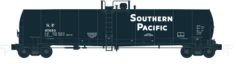Atlas 50002077 N Southern Pacific ACF 23,500 Gallon Tank Car #67699 This is an Atlas 50002077 N Scale Southern Pacific ACF 23,500 Gallon Tank Car #67699. This features Separately molded brake line plumbing, Ultra-thin handrails, Tank fittings and safety placards, 100-ton roller-bearing trucks, Brake wheel chain detail, Accurate painting and lettering, and Factory-installed AccuMate® magnetic knuckle couplers. (different train number shown)Condition: Factory New (C-9All original; unused; factory rubs and evidence of handling, shipping and factory test run.Standards for all toy train related accessory items apply to the visual appearance of the item and do not consider the operating functionality of the equipment.Condition and Grading Standards are subjective, at best, and are intended to act as a guide. )Operational Status: FunctionalThis item is brand new from the factory.Original Box: Yes (P-9May have store stamps and price tags. Has inner liners.)Manufacturer: AtlasModel Number: 50002077Road Name: Southern PacificMSRP: $27.95Scale/Era: N ScaleModel Type: Freight CarsAvailability: Ships in 3 to 5 Business Days.The Trainz SKU for this item is P12098754. Track: 12098754 - FS - 001 - TrainzAuctionGroup00UNK - TDIDUNK
