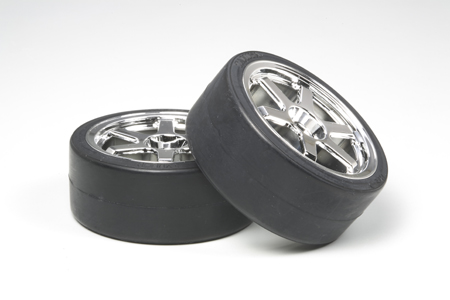 Tamiya 53960 Tires/Wheels (2): Drift Type D, 26mm This is a Tamiya 53960 6-Spoke Plated Wheels - with Drift Tire Type D, 26mm (2). Features: Equip these slippery tires for instant drift action. Each set of two tires are made from a rubber and resin compound, so you can drift all you want on the circuit without worrying about damaging the track surface.Compatible Chassis: TT-01, TA05, TA04, TB-02.Condition: Factory NewOperational Status: FunctionalOriginal Box: YesManufacturer: TamiyaModel Number: 53960MSRP: $18.50Category 1: Other ToysCategory 2: Radio Control ToysAvailability: Ships in 3 to 5 Business Days.The Trainz SKU for this item is P12073431. Track: 12073431 - FS - 001 - TrainzAuctionGroup00UNK - TDIDUNK