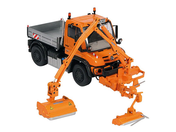 NZG 9101 Mercedes-Benz Unimog U 400 This is a NZG 9101 1:50 Scale Mercedes-Benz Unimog U 400 MKM 700 Combination Mower. It Features: steerable front axle movable mower removable mower rear ballastCondition: Factory NewOperational Status: FunctionalThis item is brand new from the factory.Original Box: YesManufacturer: NZGModel Number: 9101MSRP: $171.99Category 1: 1:64 ScaleCategory 2: ConstructionAvailability: Ships in 3 to 5 Business Days.The Trainz SKU for this item is P12104007. Track: 12104007 - FS - 001 - TrainzAuctionGroup00UNK - TDIDUNK